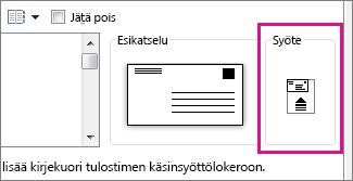 Syöttökaavio näyttää, miten kirjekuori asetetaan tulostimeen