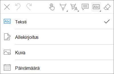 OneDrive for iOS:n PDF Markup-teksti valikko