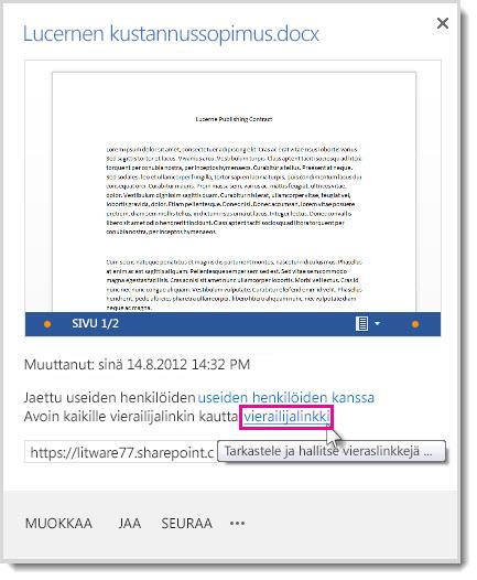 Ominaisuudet-valintaikkuna, jossa näkyy, että tiedosto on jaettu vieraskäytön linkin avulla.