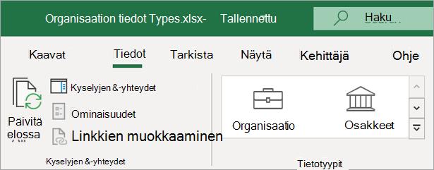 Excelin tiedot-väli lehti, jossa näkyy organisaation tieto tyyppien kuvake