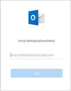 Ensimmäisessä näytössä pyydetään antamaan sähköpostiosoite
