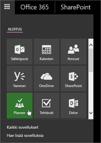 Näyttökuva Office 365:n sovellusruudusta, jossa Planner-ruutu on aktiivinen.