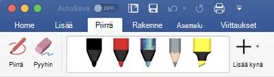 Kynä-ja korostus kynät Office 365 for Macin Piirrä-väli lehdessä