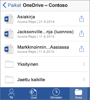 OneDrive-tiedostot Office Mobilessa