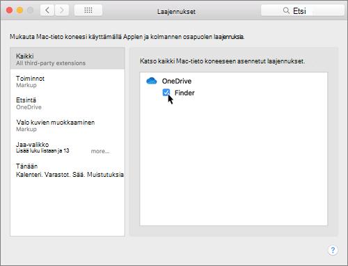 Näyttökuva Macin järjestelmäasetusten Laajennukset-kohdasta