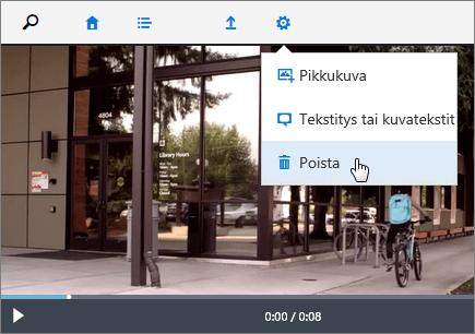 Näyttökuva videosivusta, jossa Poista-komento on aktiivinen.