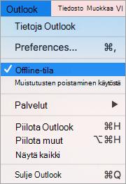 Näyttää valitun Outlook-valikossa Työskentele offline-tilassa-asetus
