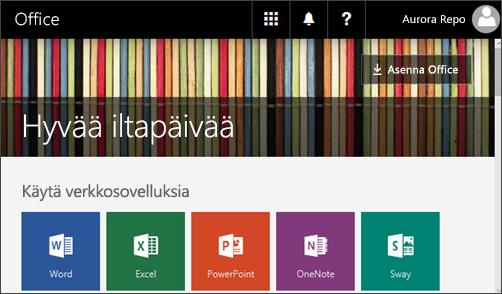 Näyttökuva, jossa näkyy aloitussivu ja Asenna Office -painike