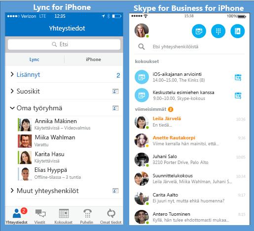 Lyncin ja Skype for Businessin rinnakkaiset näyttökuvat