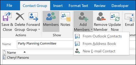 Valitse Lisää jäseniä lisääminen yhteystietoryhmä.