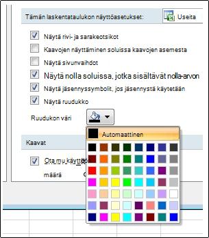 Ruudukon väriasetukset Excelin asetukset -valintaikkunassa
