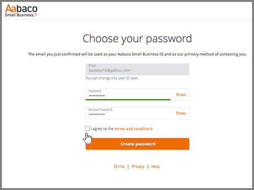 Valitse salasana-sivu