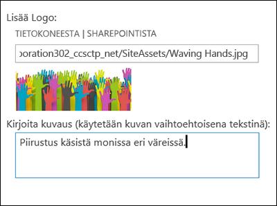 SharePoint Onlinen uuden sivuston otsikko ja logo -valintaikkuna, josta näkyy, miten logokuvalle voi luoda vaihtoehtoisen tekstin