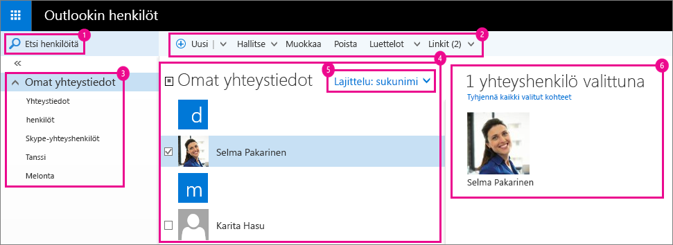 Näyttökuva Outlookin henkilösivusta.
