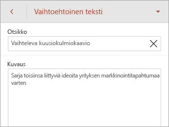 SmartArt-välilehden Vaihtoehtoinen teksti -komento