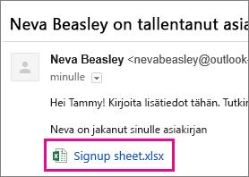 Kutsu vastaanottajat sähköpostilla jakamaan tiedosto