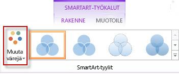 Väriasetusten muuttaminen SmartArt-tyylit-ryhmässä
