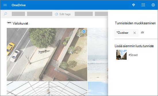 Tunnisteiden muokkaaminen OneDrivessa.