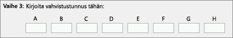 Näyttää, mihin voit kirjoittaa tuoteaktivointikeskuksesta puhelimitse saatavan vahvistustunnuksen