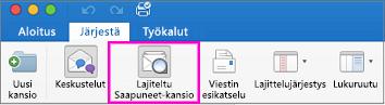 Valintanauhan Järjestä-välilehden Lajiteltu Saapuneet-kansio -painike