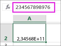 lukuarvo näkyy eksponentiaalisena, kun siinä on vähintään 12 numeroa