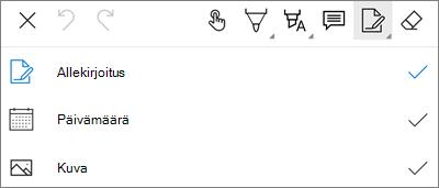 OneDrive for Androidin PDF Markup-teksti valikko