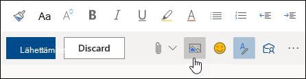 Näyttökuva Lisää kuvia tekstiin -painikkeesta
