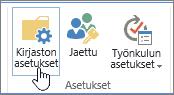 SharePoint-kirjaston Asetukset-painike valintanauhassa.