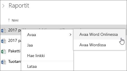 Tiedosto avaaminen Word Onlineen OneDrivessä