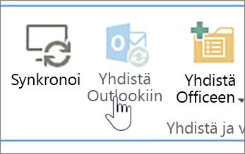 Valintanauha, jossa käytöstä poistettu Yhdistä Outlookiin -painike näkyy korostettuna