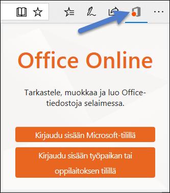 Office Online -laajennuksen sisäänkirjautumisvalintaikkuna Edgessä