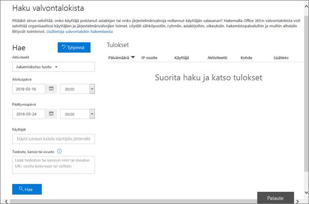 Office 365 -tapahtumaraportti suodatettuna kutsun luomista varten