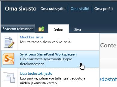 Sivuston toiminnot -valikon Synkronoi SharePoint Workspacen kanssa -komento