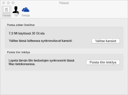 Synkronointikansion valinta Macin OneDrive-sovelluksessa