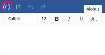 Näyttää Word 2016 for iPadin Takaisin-painikkeen.