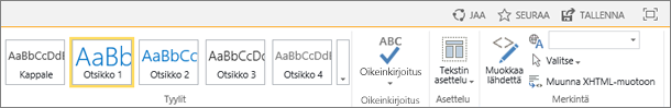 Näyttökuva SharePoint Onlinen valintanauhasta, jossa ovat Jaa-, Seuraa- ja Tallenna-ohjausobjektit.