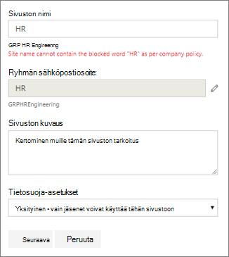 Näyttökuva: Ryhmän nimeämiskäytäntö - SharePoint-sivuston estetty nimi