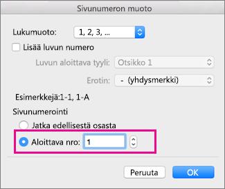 Sivujen numeroinnin aloittaminen jäljempänä asiakirjassa Word for Macissa - Word for Mac