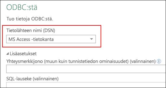 Power Query – ODBC-yhdistin, käyttäjän/järjestelmän DNS:ien valinnan tuki
