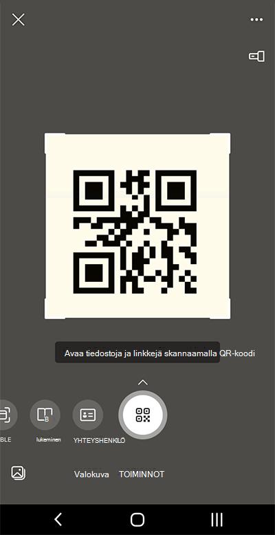 Näyttökuva Microsoft Lensissä Android-puhelimessa