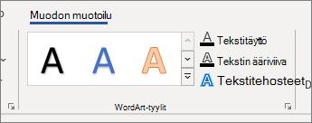 WordArt-tyylit-ryhmän asetukset