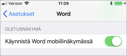 Käynnistä Word mobiilinäkymässä -asetus valittuna