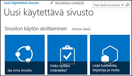 Näyttökuva uudesta SharePoint-sivustosta, jossa näkyy sivuston mukauttamisessa käytettäviä ruutuja