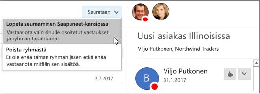 Tilauspainike ryhmien otsikossa Outlook 2016:ssa
