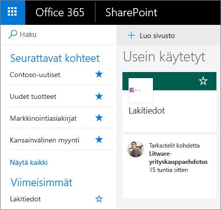Näyttökuva SharePointin modernin tilan aloitussivusta.