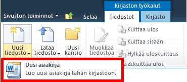 Uuden tiedoston lisääminen tiedostokirjastoon