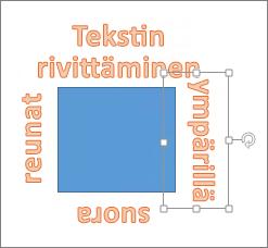 WordArt-objektin lisääminen suorareunaisen muodon ympärille