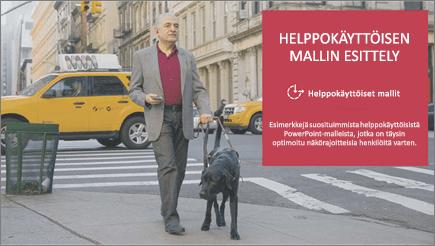 Näkörajoitteinen mies kävelee avustajakoiran kanssa