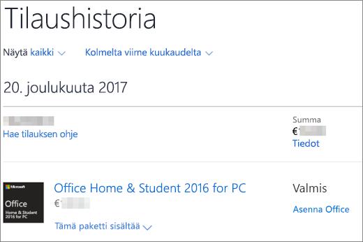 Näyttää Tilaushistoria-sivun Microsoft Storessa