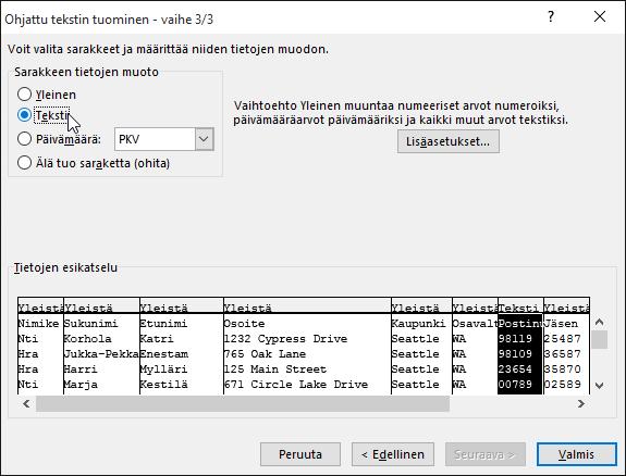 Sarake-tietomuodon Teksti-vaihtoehto näkyy korostettuna ohjatussa tekstintuonnissa.